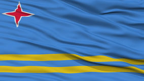 Closeup Aruba Flag. Waving in the Wind, High Resolution Stock Photography