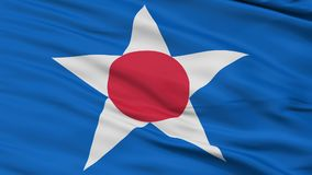 Closeup Asahikawa city flag, prefecture Hokkaido, Japan. Asahikawa close up flag, Hokkaido prefecture, realistic animation seamless loop - 10 seconds long royalty free illustration