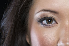 Closeup of Asian eye with black liner Stock Images
