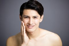 Closeup Handsome young men face royalty free stock photography