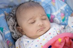 Closeup of an Indian Infant baby sleeping royalty free stock photo