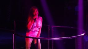 Famous Asian Girl Singer Dances On Club Stage At Party Stock