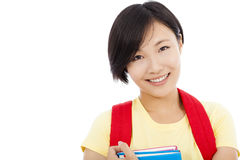 Closeup of asian student girl over white background Stock Photography