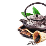 Closeup of asian teapot and dried tea Royalty Free Stock Images