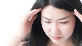 Closeup asian woman having headache with whitebackground. Closeup asian woman having headache with whitebackground Royalty Free Stock Images