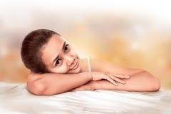 Closeup Of Asian Woman Over Blur Background Royalty Free Stock Photos