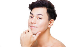 Closeup asian young man face Royalty Free Stock Photography