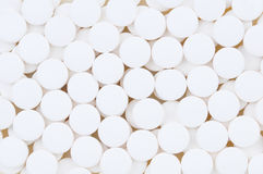 Closeup of Aspirin Tablets. Closeup of white aspirin tablets. Fills the frame Stock Photography