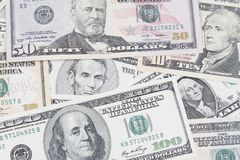 American banknotes. Closeup of assorted American banknotes Royalty Free Stock Photos