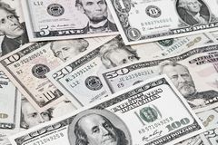 Assorted American banknotes. Closeup of assorted American banknotes Royalty Free Stock Images