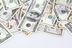 American banknotes. Closeup of assorted American banknotes on plain background Stock Images