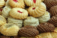 Closeup of assorted Biscuits and cookies Royalty Free Stock Photos