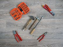 Closeup of assorted work tools Royalty Free Stock Images