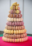 Closeup assortment of lots of multicolored tasty macarons Royalty Free Stock Photo