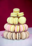 Closeup assortment of lots of multicolored tasty macarons on tie Royalty Free Stock Images