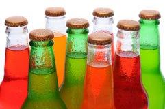 Closeup Asssorted Soda Bottles stock photography