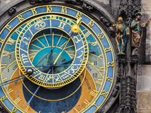 Closeup of the astronomic clock at the town hall of Prague, Czech Republic Stock Photos