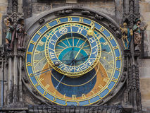 Closeup of the astronomic clock at the town hall of Prague, Czech Republic Stock Images