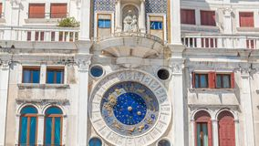 Closeup on Astronomical clock timelapse in square San Marco, Venice, Italy. Sunny day stock video