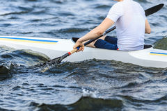 Closeup of an athlete in a canoe Royalty Free Stock Photography