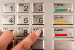 Closeup of atm machine keyboard Royalty Free Stock Image