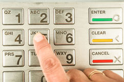 Closeup of atm machine keyboard Royalty Free Stock Photography