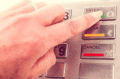 Closeup of atm machine keyboard Stock Images