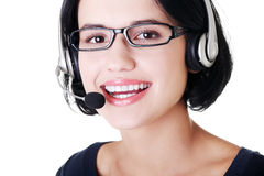 Attractive customer support representative smiling Royalty Free Stock Photos