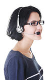 Attractive customer support representative smiling Stock Photo