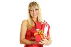 Closeup of an attractive woman with a gift Royalty Free Stock Images