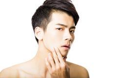 Closeup  attractive young man face Stock Photography