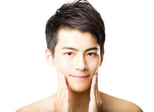 Closeup  attractive young man face Royalty Free Stock Image