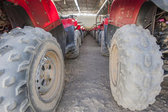 Closeup of ATV tyres in a row Royalty Free Stock Photo