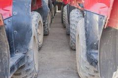 Closeup of ATV tyres in a row Royalty Free Stock Photos