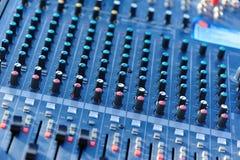 Closeup of audio mixer Stock Photo