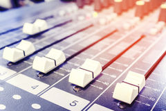 Closeup audio mixer slider control Royalty Free Stock Photos