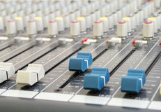 Closeup of audio mixing console Royalty Free Stock Photo