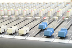 Closeup of audio mixing console Stock Images