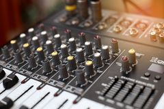 Closeup of an audio sound mixer. Royalty Free Stock Image