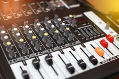 Closeup of an audio sound mixer. Stock Images