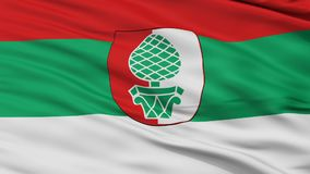 Closeup Augsburg city flag, Germany. Augsburg closeup flag, city of Germany, realistic animation seamless loop - 10 seconds long stock illustration