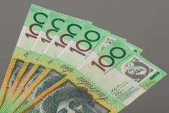 Abstract Australia Dollars. Closeup Australian one hundred dollar bills, Financial concept Stock Photo