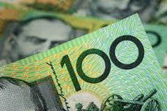 Abstract Australia Dollars. Closeup Australian one hundred dollar bills, Financial concept Royalty Free Stock Photo