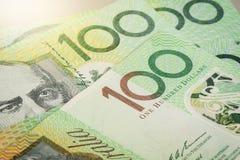 Abstract Australia Dollars. Closeup Australian one hundred dollar bills, Financial concept Stock Image