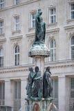 Austriabrunnen fountain in Vienna, Austria. Closeup Austriabrunnen fountain sculpture in Vienna, Austria royalty free stock image