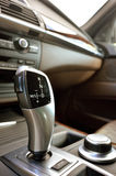 Car gear lever. Luxury automatic gear lever inside car stock photo