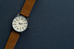 Closeup automatic men watch with leather wrist on dark background Royalty Free Stock Images