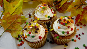 Closeup of autumn leaves cupcakes Royalty Free Stock Photo