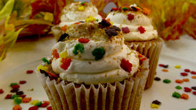 Closeup of autumn leaves cupcakes Stock Photos