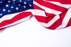 Closeup av amerikanska flaggan på vit bakgrund arkivbilder